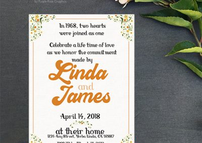 1960s styled invitations for 50th anniversary party