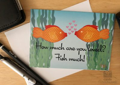 Kissing Fish in a Aquarium, Text reads How much are you loved? Fish much!