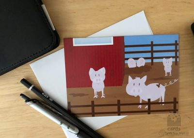 Barnyard with Pink Pigs in the Mud